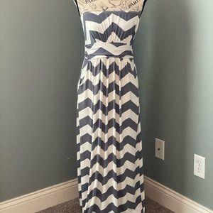 Fashionomics Strapless Gray Chevron Maxi Dress